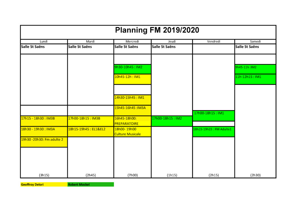 Planning formation musicale 2019-2020